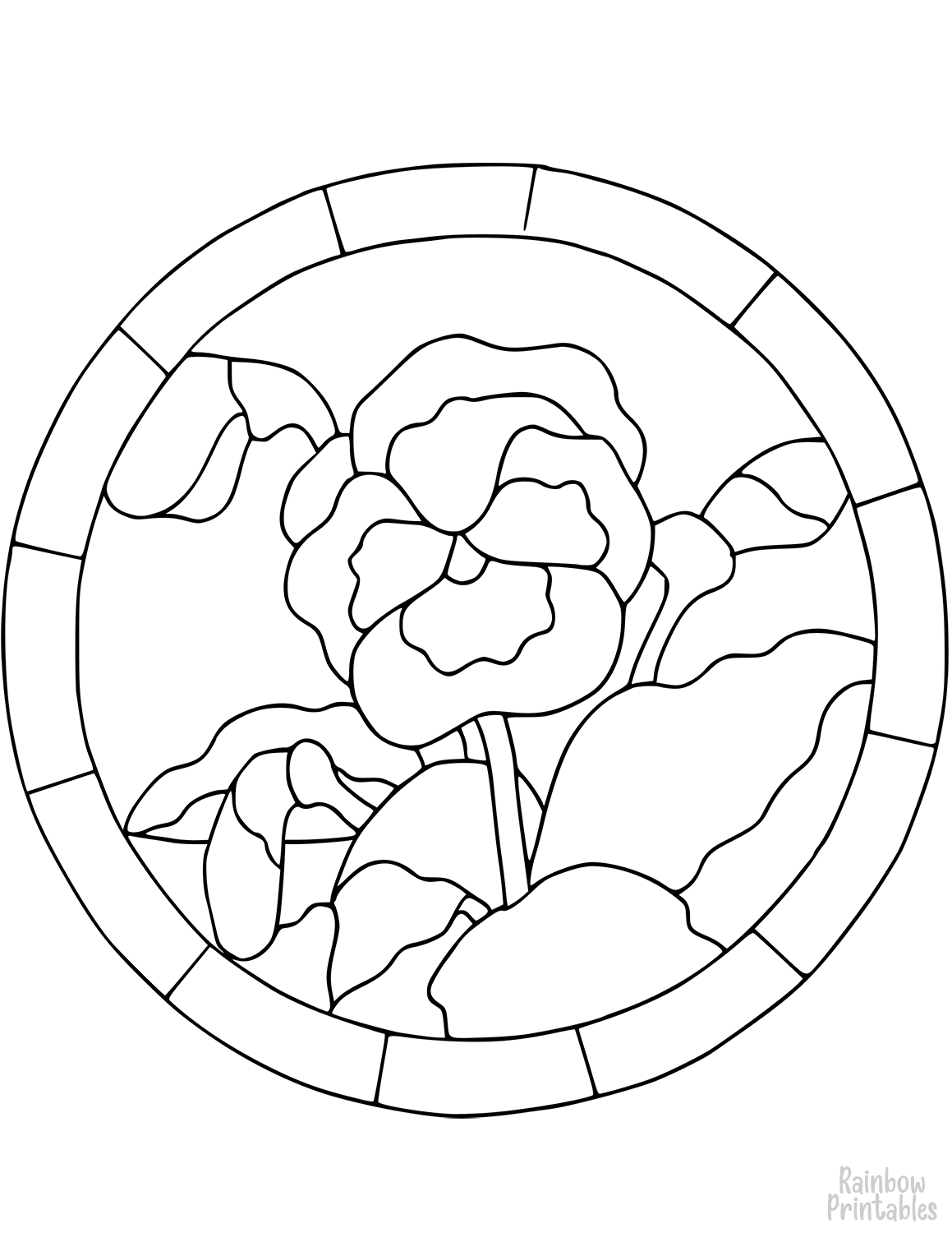 STAINED GLASS PANSY Clipart Coloring Pages for Kids Adults Art Activities Line Art