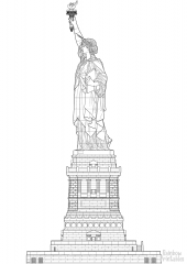 statue of liberty with pedestal side view coloring page