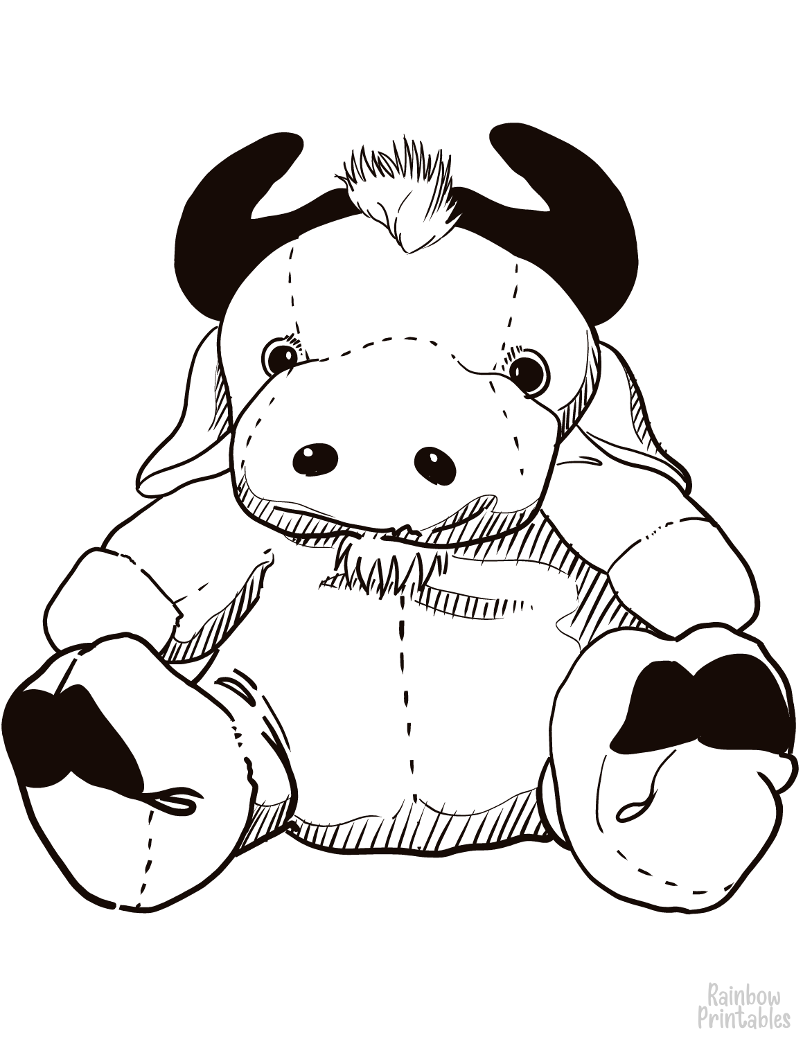 STUFFED HORN COW OX TOY Clipart Coloring Pages for Kids Adults Art Activities Line Art