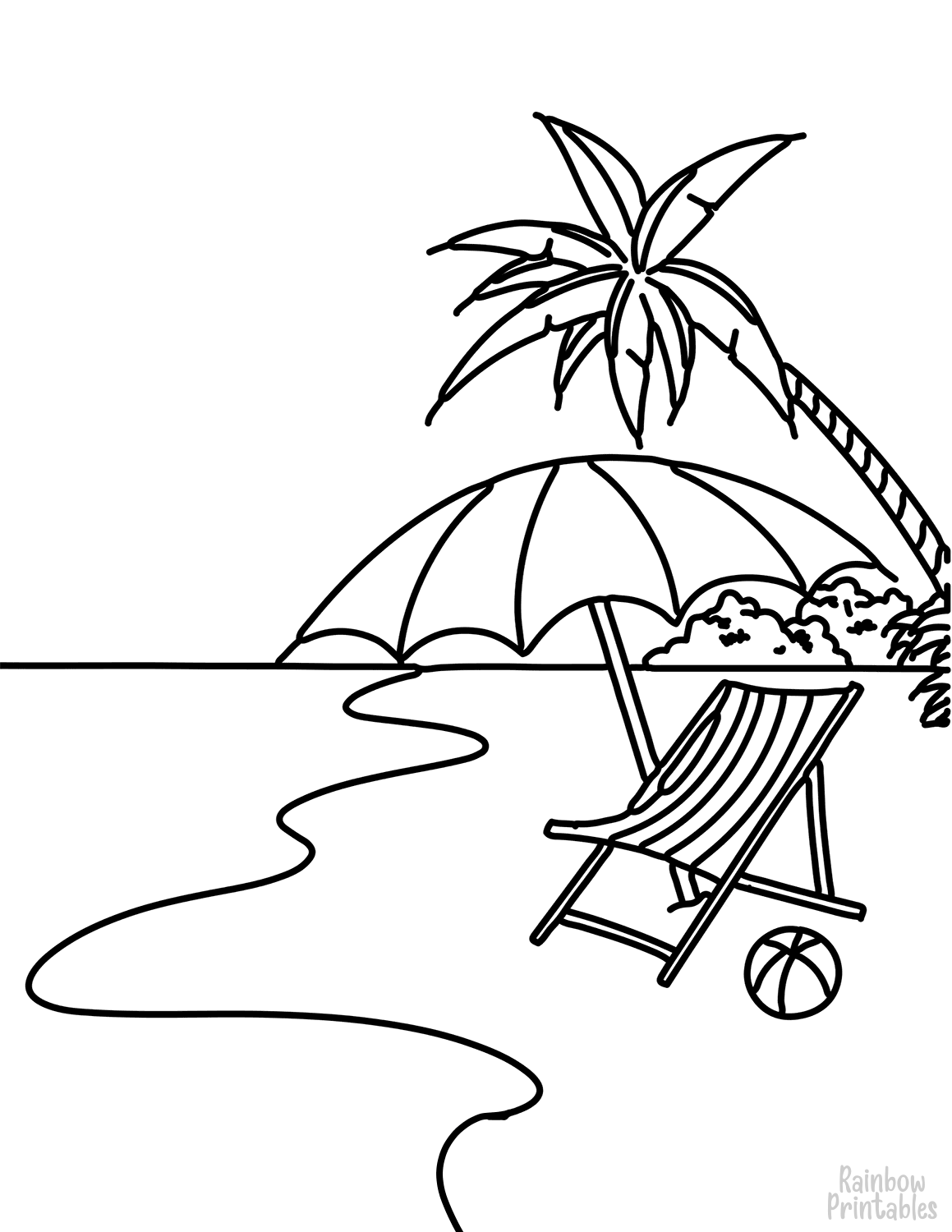 SUMMER-BEACH-SCENE-Clipart Coloring Pages for Kids Adults Art Activities Line Art