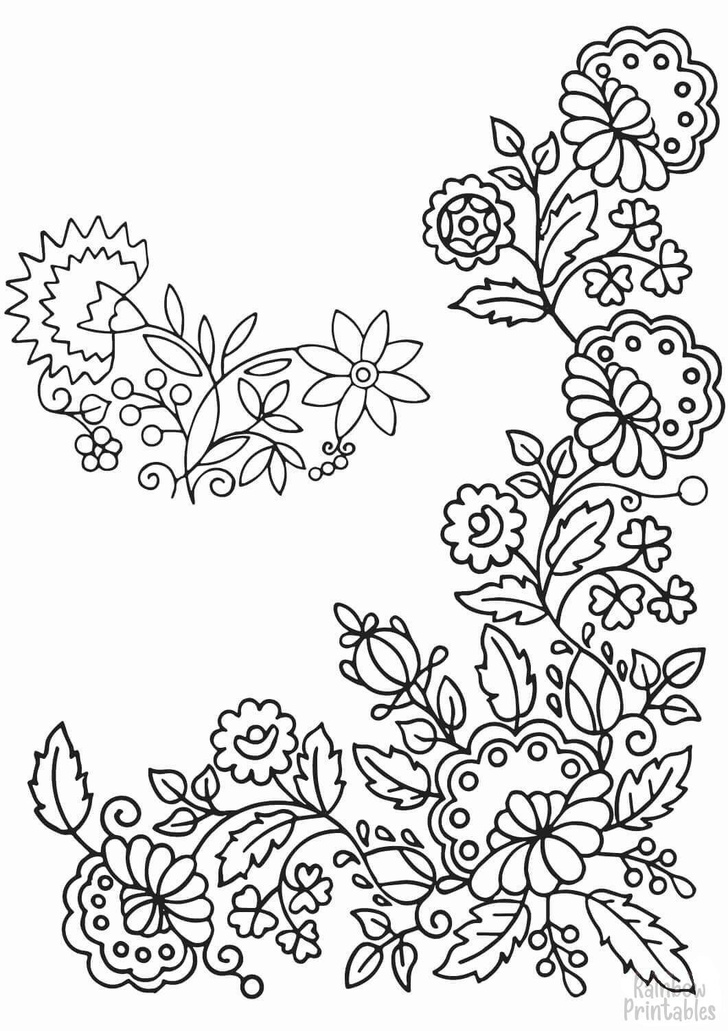tender flowers coloring page
