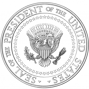 US Presidential SEAL Free Clipart Public Domain Coloring Pages Line Art Drawings for Kids