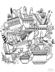 zentangle with cups coloring page