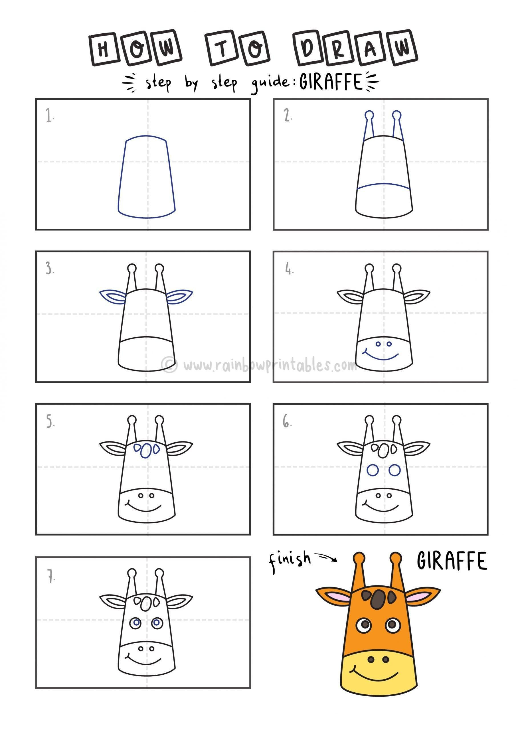 How To Draw Tutorials For Kids GIRAFFE YOUNG KIDS EASY DRAWINGS ART GUIDE STEP BY STEP