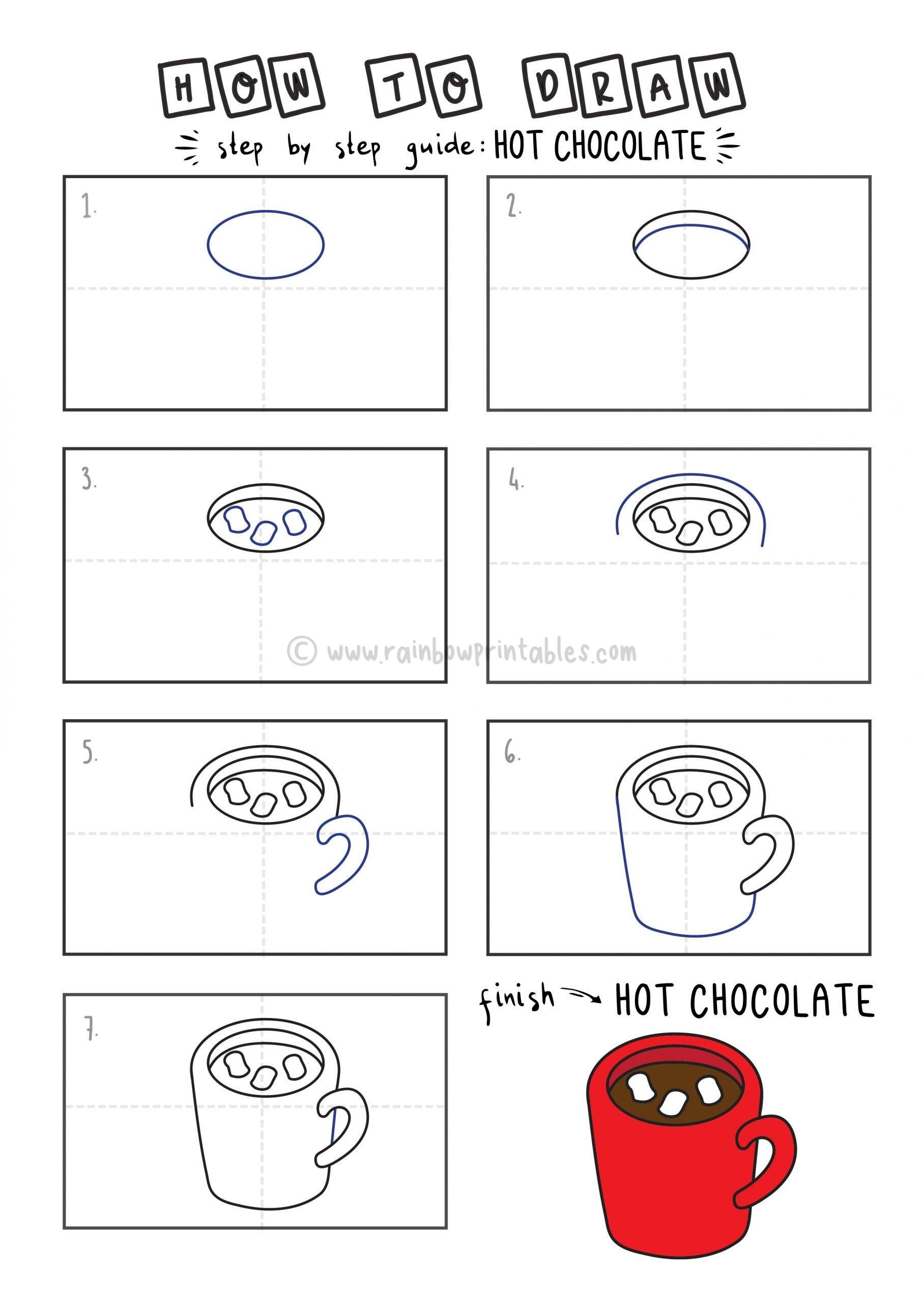 HOW TO DRAW HOT CHOCOLATE MUG MARSHMALLOW FOR YOUNG KIDS EASY DRAWINGS ART GUIDE STEP BY STEP