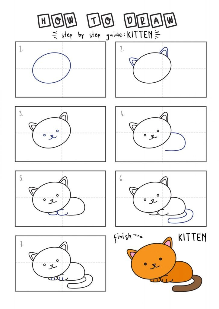 How To Draw Tutorials For Kids KITTEN YOUNG KIDS EASY DRAWINGS ART GUIDE STEP BY STEP