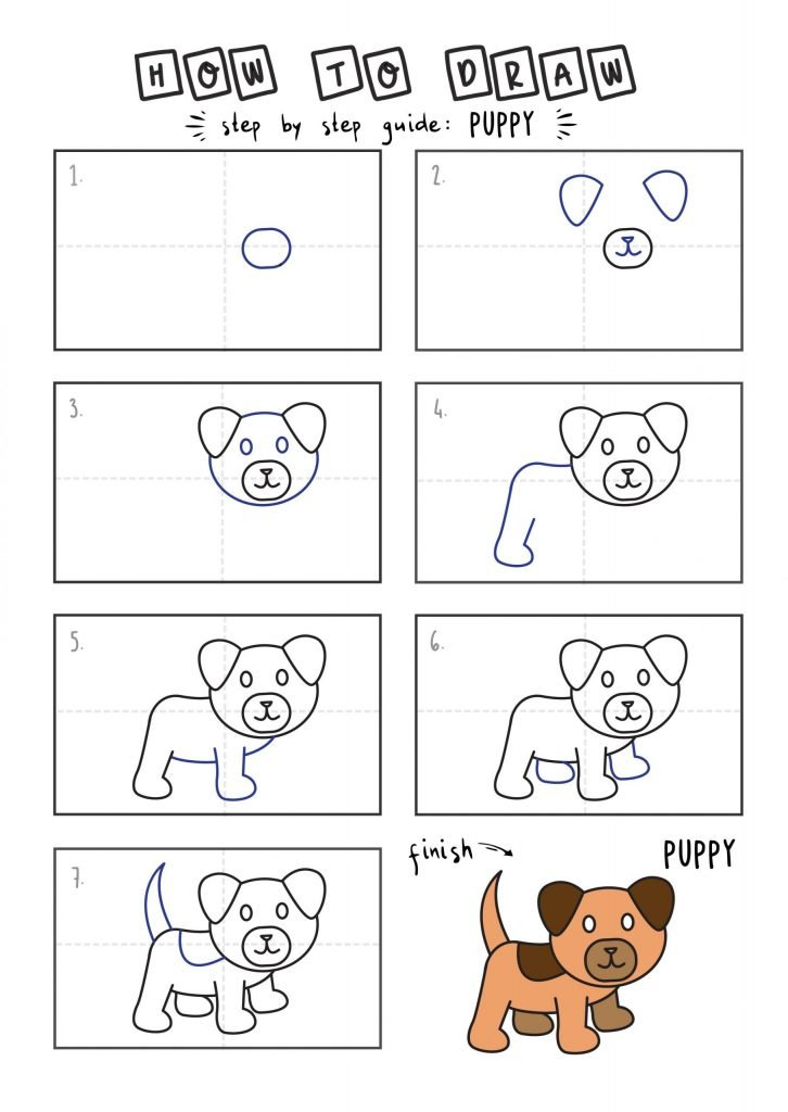 How To Draw Tutorials For Kids PUPPY YOUNG KIDS EASY DRAWINGS ART GUIDE STEP BY STEP