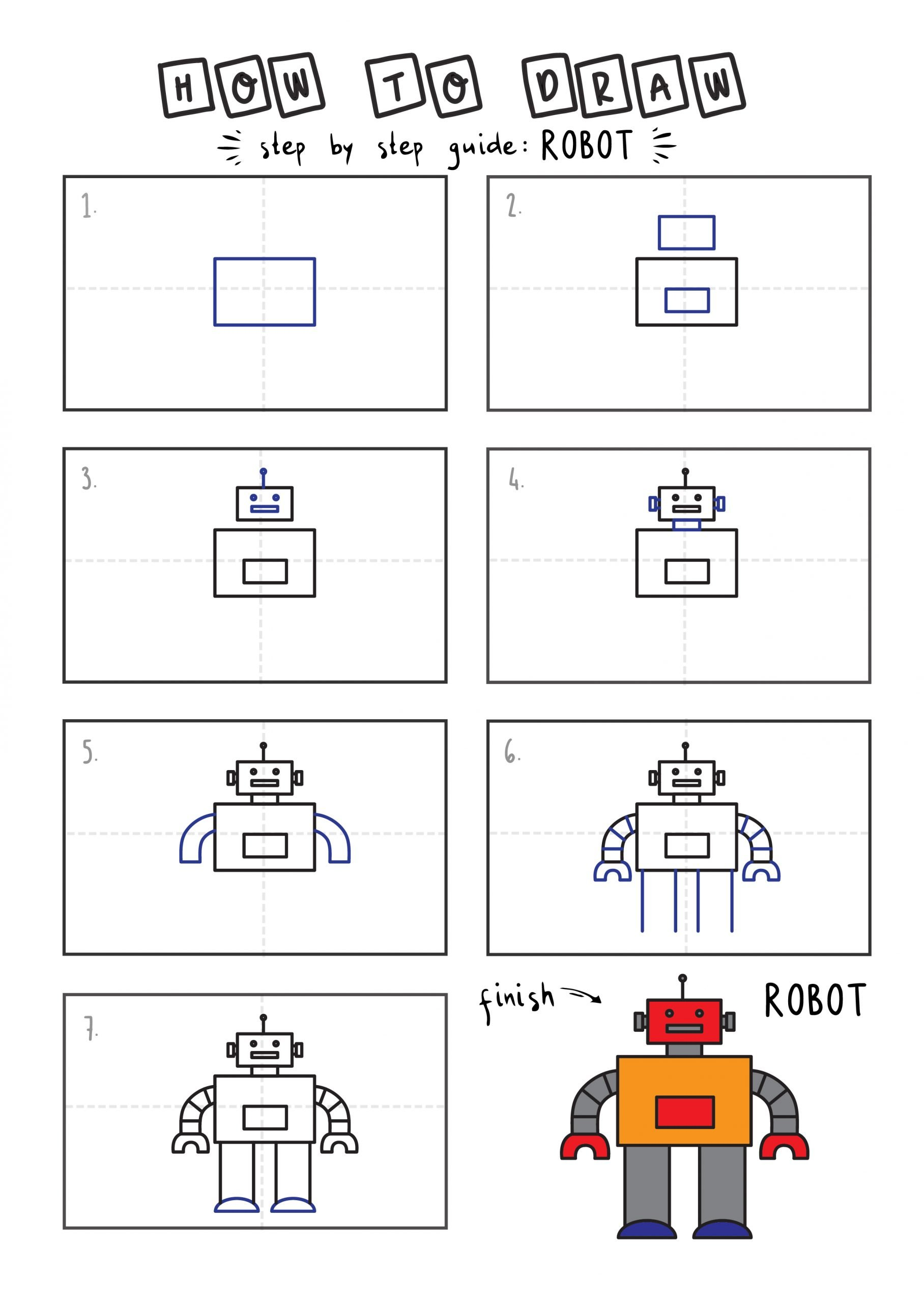How To Draw Tutorials For Kids ROBOT YOUNG KIDS EASY DRAWINGS ART GUIDE STEP BY STEP