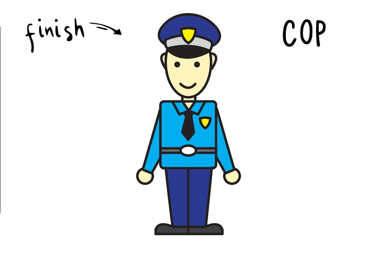 How To Draw an Officer for Young Kids (Cop in Full Uniform)