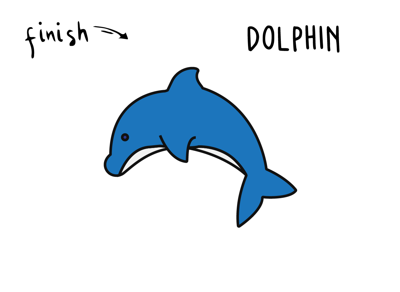 How To Draw a Cartoon Dolphin Step By Step for Young Children
