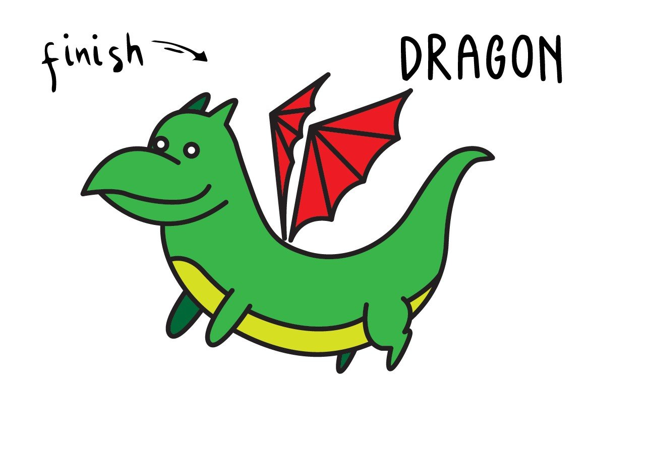 How To Draw an Easy Cartoon Dragon Step By Step for Young Learners