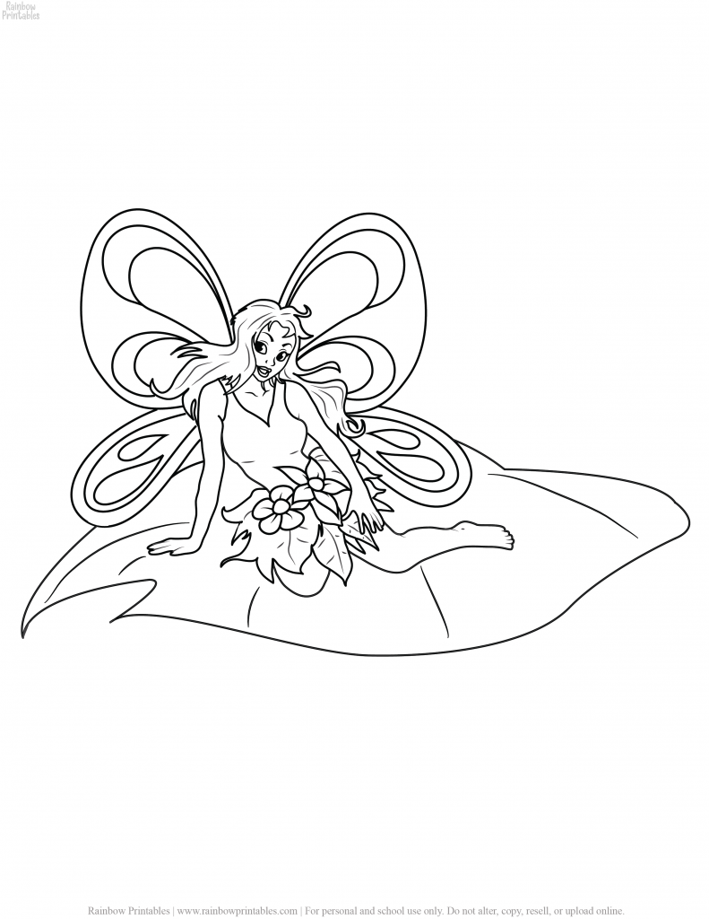 FREE BEAUTIFUL CARTOON FAIRY COLORING PAGES FOR GIRLS PRINTABLE ACTIVITY