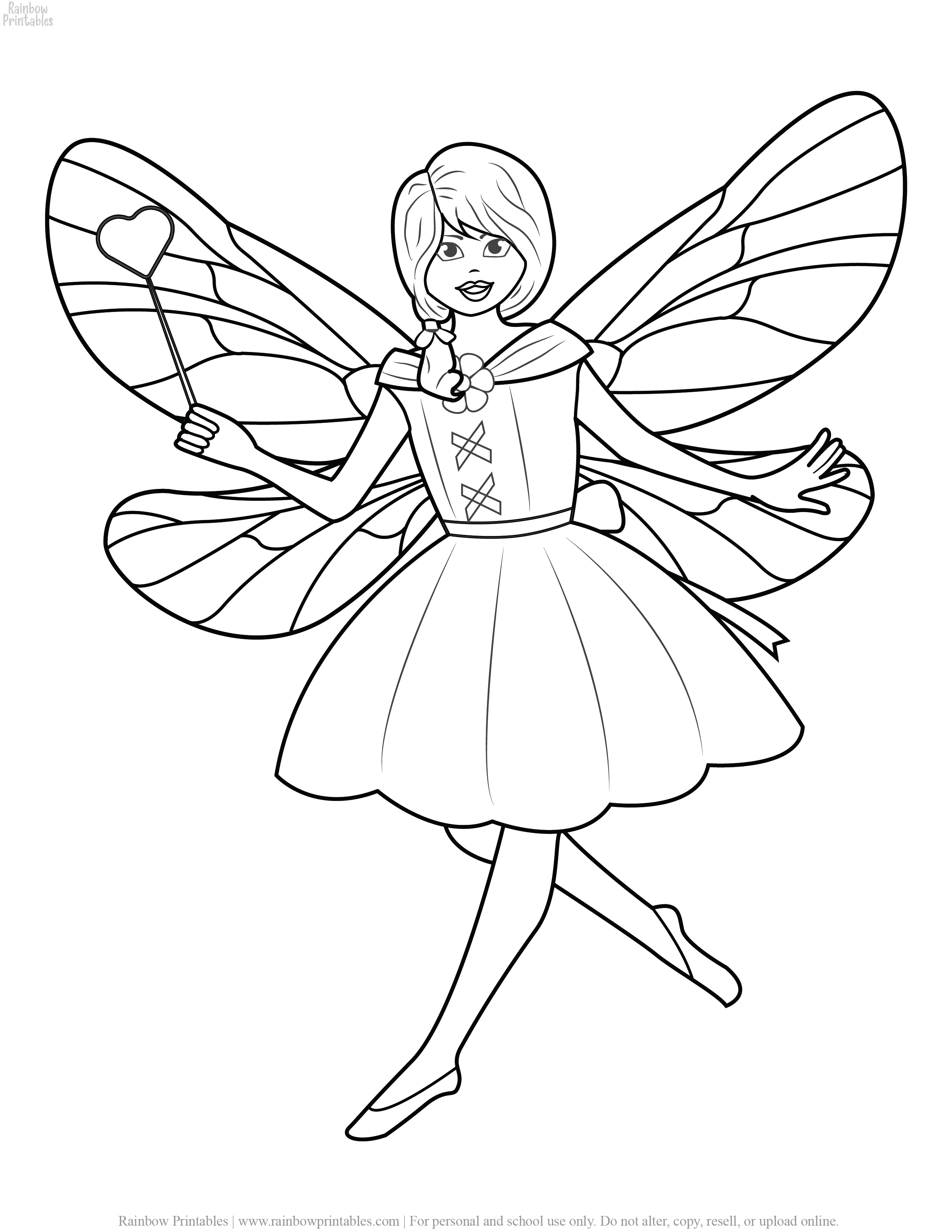 26 Pretty Fairy Kids Coloring Pages For Girls Free Rainbow Printables