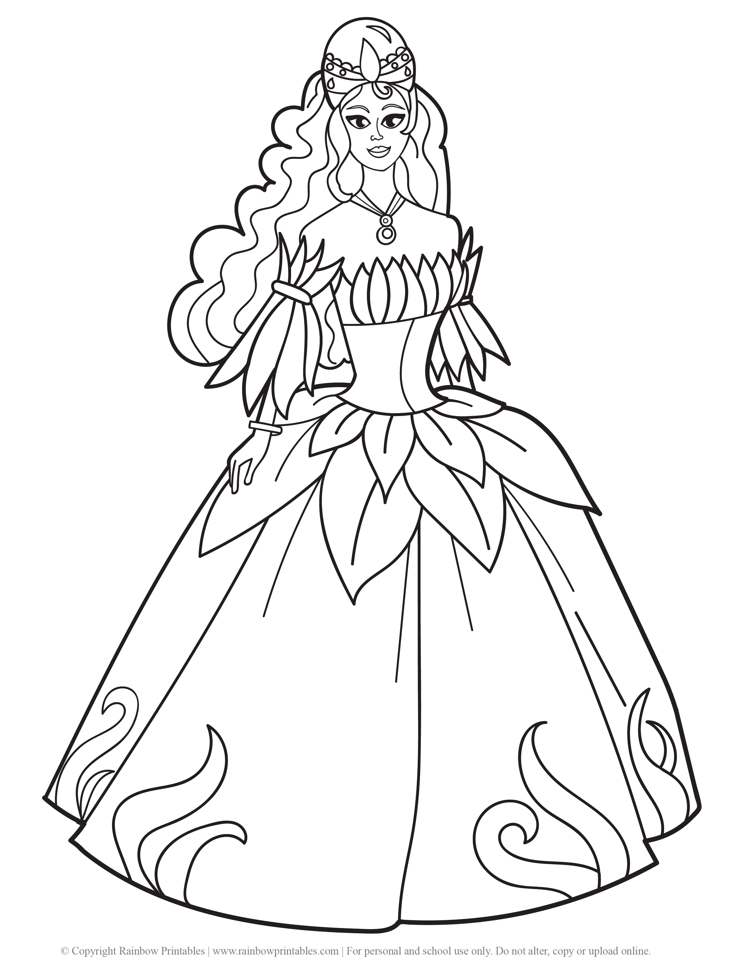 Cute Princess Coloring Pages For Girls Rainbow Printables