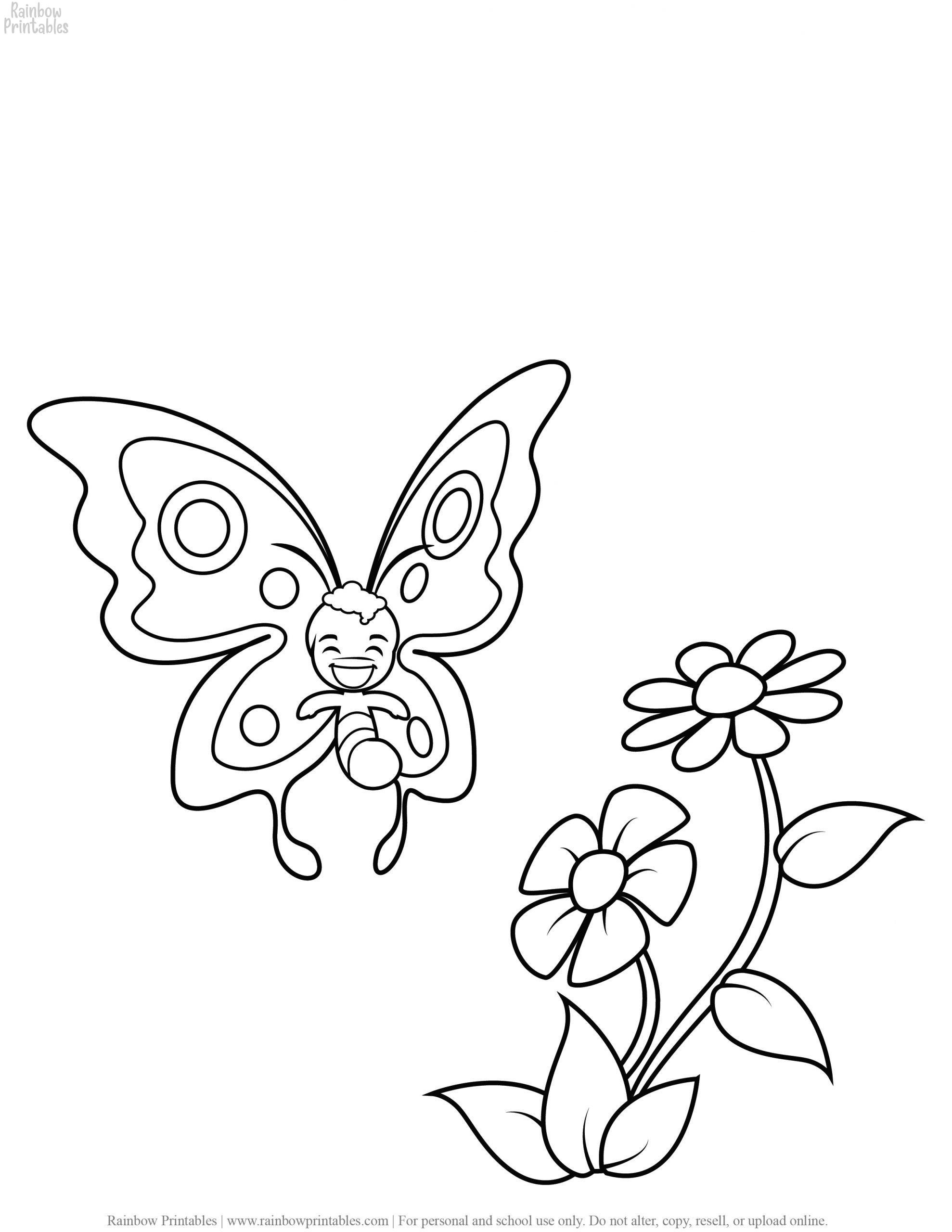 FREE CUTE SPRING TIME BUTTERFLY FLOWERS COLORING PAGES FOR KIDS GIRLS 04 scaled