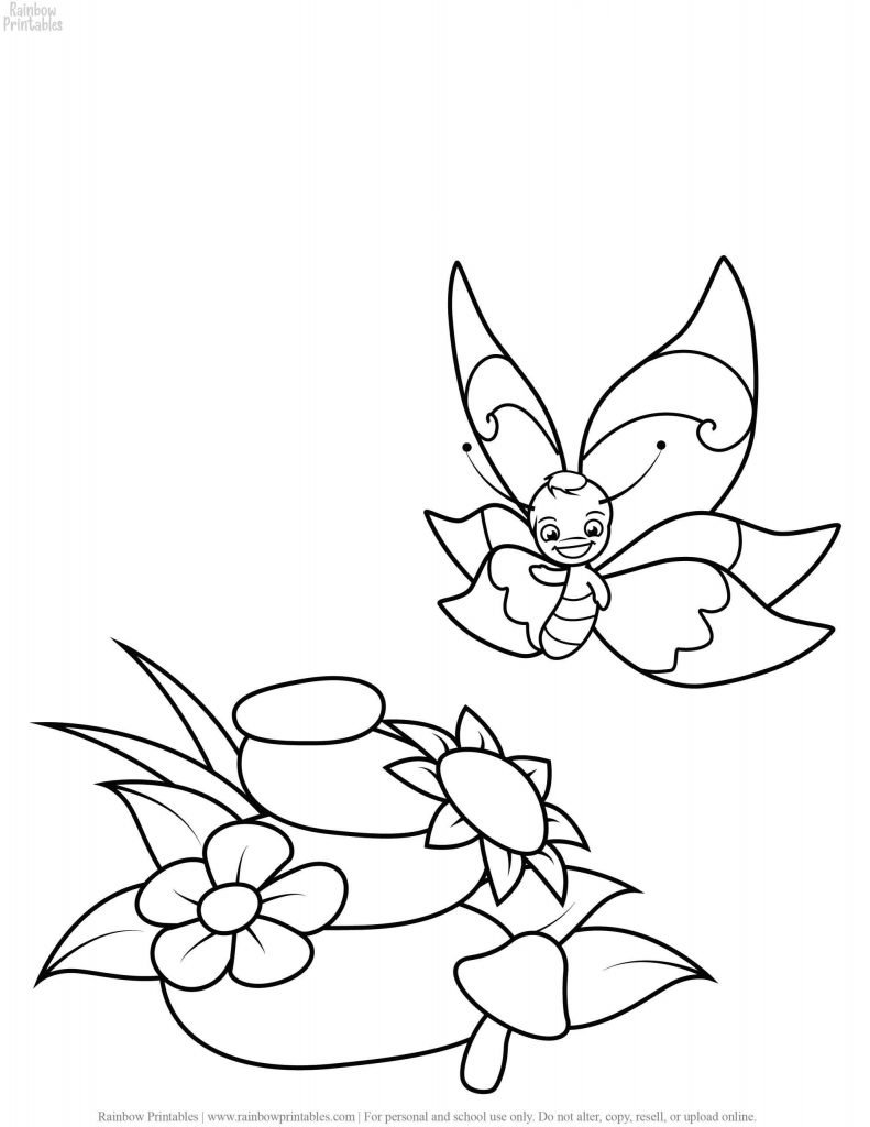 Easy Spring Time FLOWER and Butterfly Animal Insect Coloring Pages for Kids Printable Art Activity for Children