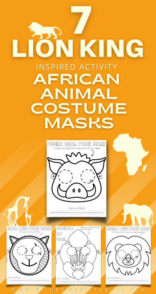 Are you looking for an easy Lion King activity for your kids? Bring these cute DISNEY-inspired characters alive with these cute DIY coloring and cut out masks. See the fan favorites of Lion Kings cast: Timon, Pumba, Scar, Raffikii, Hyenas, Sarabi/Nala, Simba. Find other African animals, quotes, idea prompts to cosplay with kids. Perfect for children's themed birthday party and Lion King shower events. Lion King coloring pages; free download #Printable #ActivitiesforKids #CraftIdeas #CraftforKids