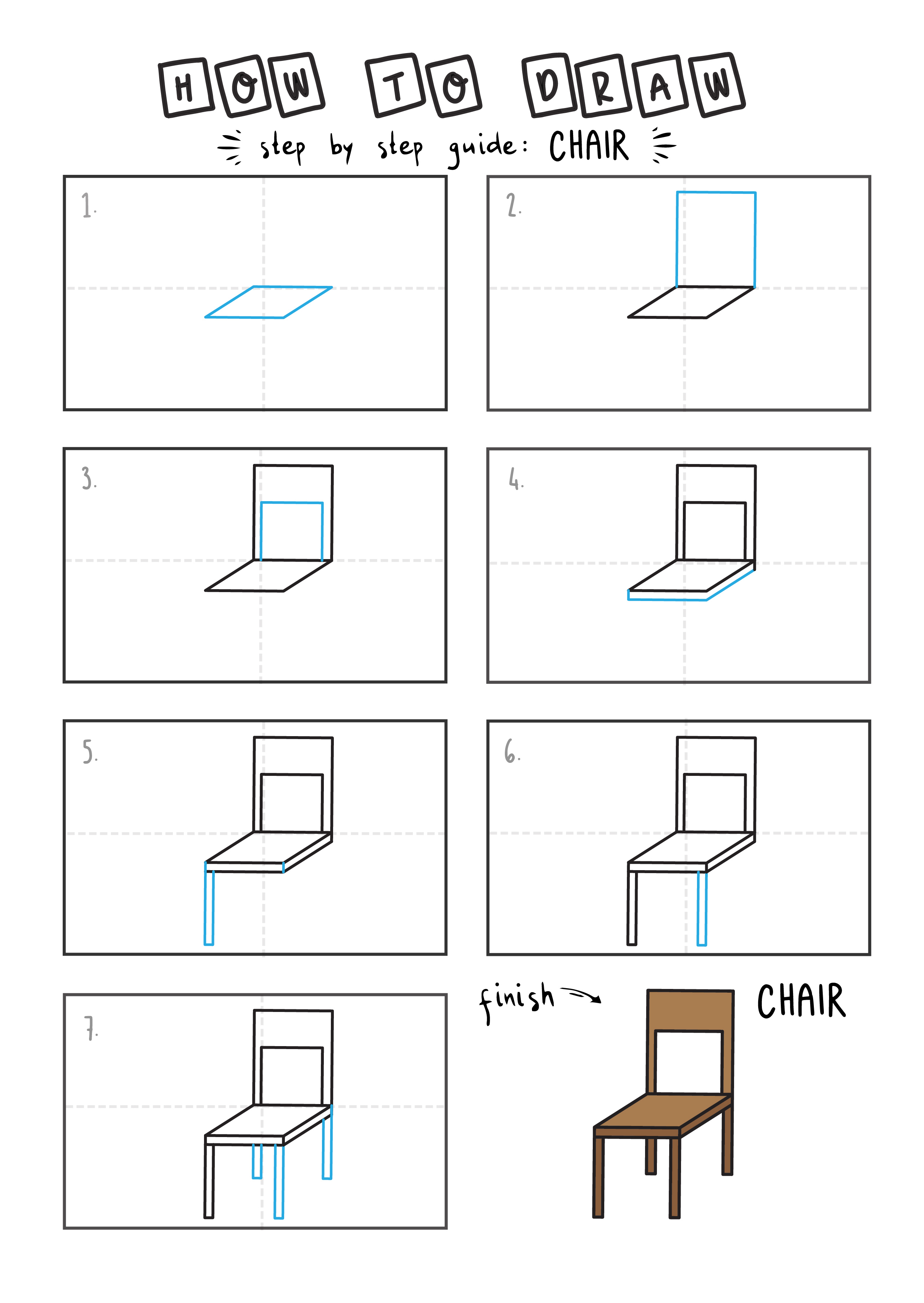 HOW TO DRAW A CHAIR FOR YOUNG KIDS EASY DRAWINGS ART GUIDE STEP BY STEP