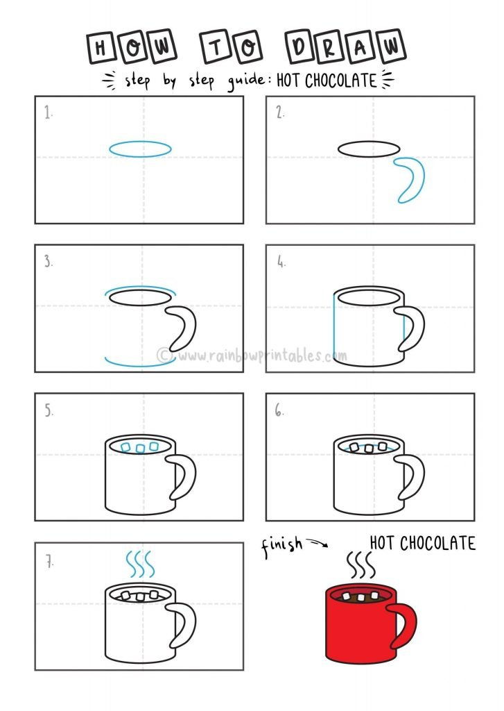 HOW TO DRAW A HOT CHOCOLATE FOR YOUNG KIDS EASY DRAWINGS ART GUIDE STEP BY STEP