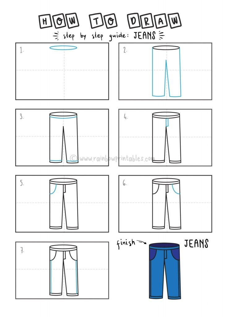HOW TO DRAW A JEANS FOR YOUNG KIDS EASY DRAWINGS ART GUIDE STEP BY STEP