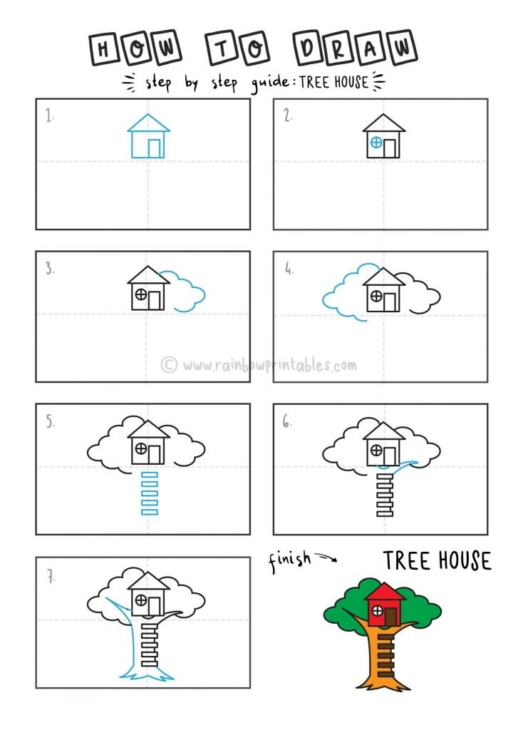 HOW TO DRAW A TREE HOUSE FOR YOUNG KIDS EASY DRAWINGS ART GUIDE STEP BY STEP
