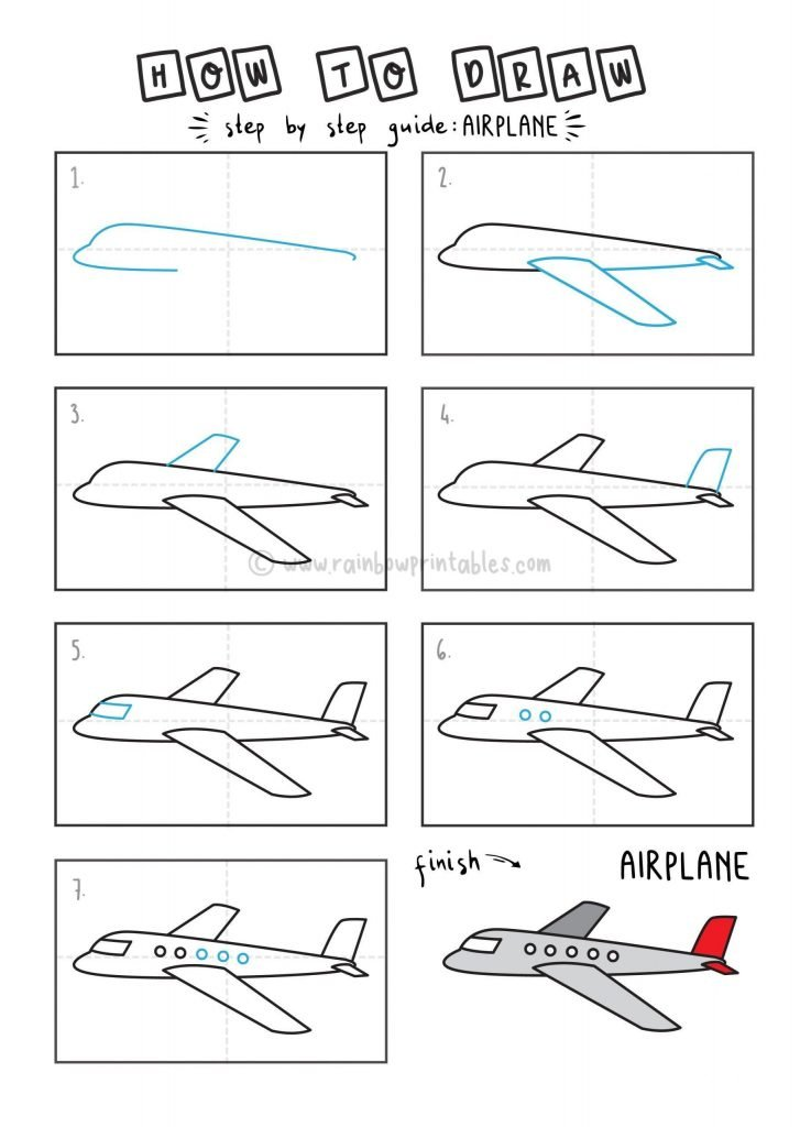 HOW TO DRAW AIRPLANE FOR YOUNG KIDS EASY DRAWINGS ART GUIDE STEP BY STEP
