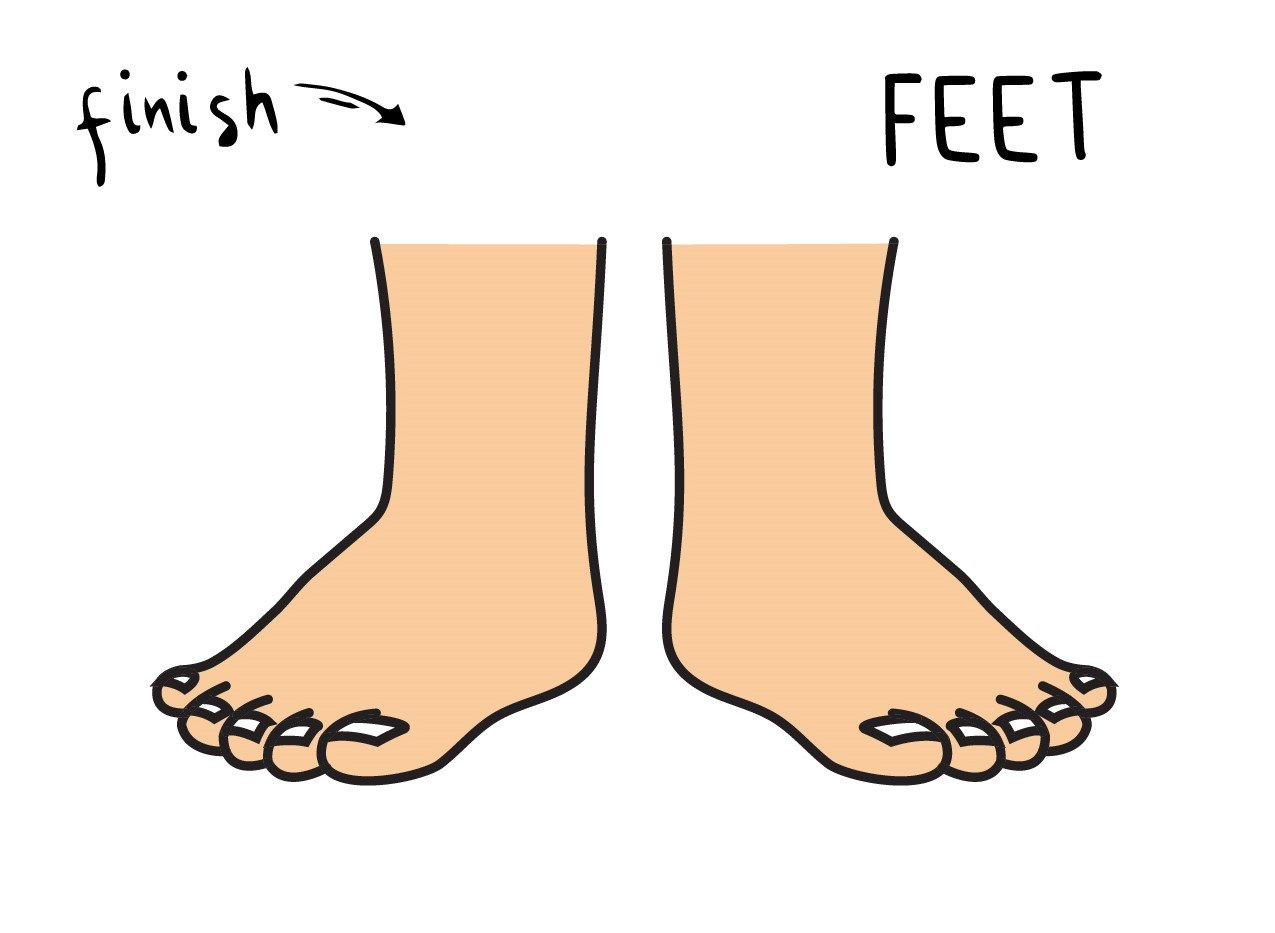 How To Draw a Pair of Cartoon Style Feet for Kids