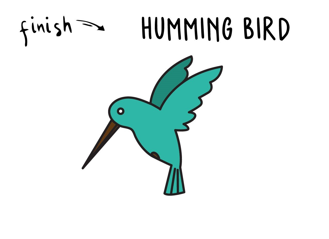 How To Draw a Hummingbird – Tutorial for Young Children (Super Duper Easy!)