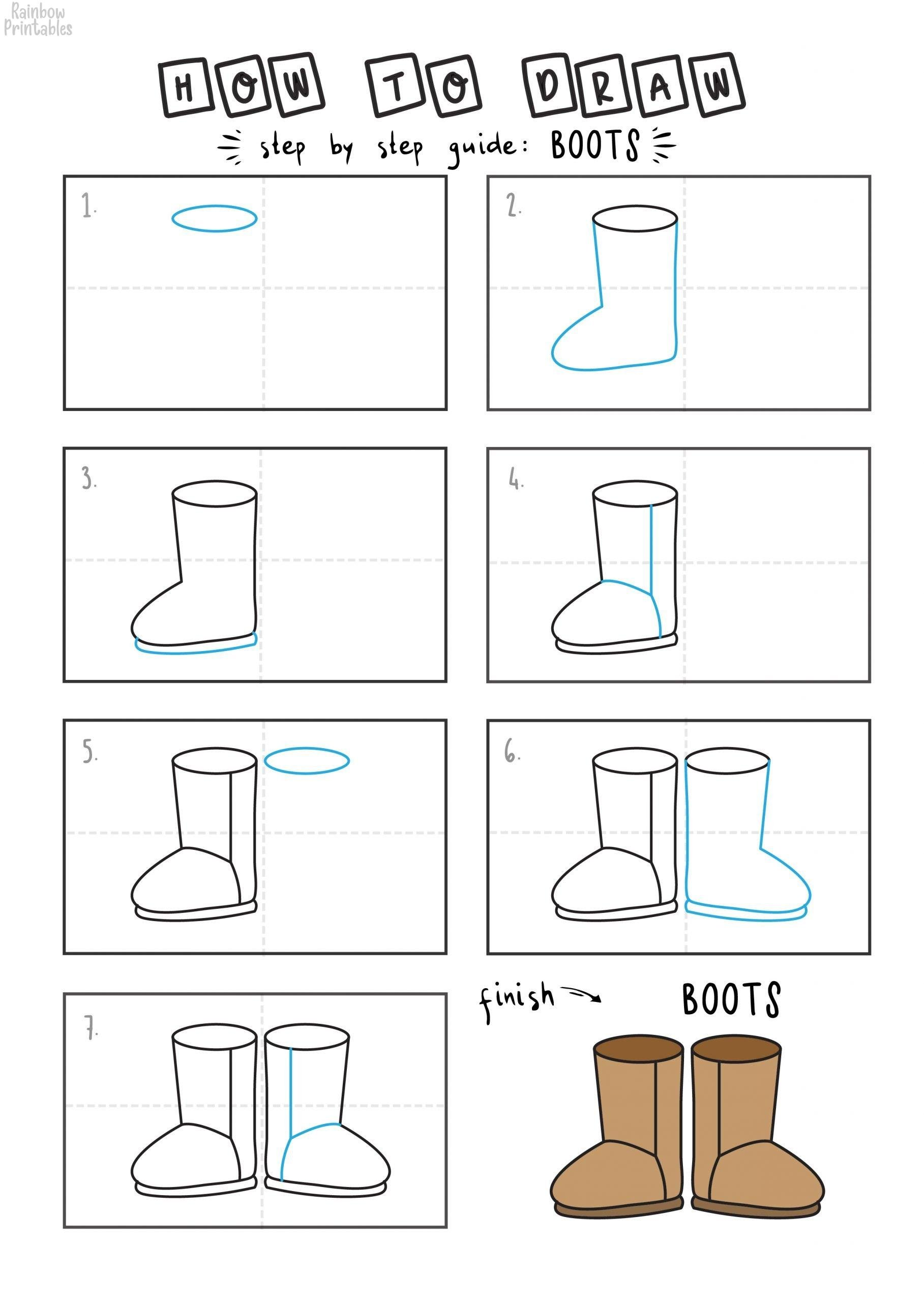 HOW TO DRAW UGG BOOT FOR YOUNG KIDS EASY DRAWINGS ART GUIDE STEP BY STEP