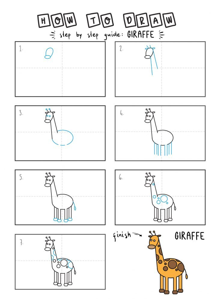 How To Draw African Animal Giraffe Step by Step Art Drawing Tutorial for Young Children