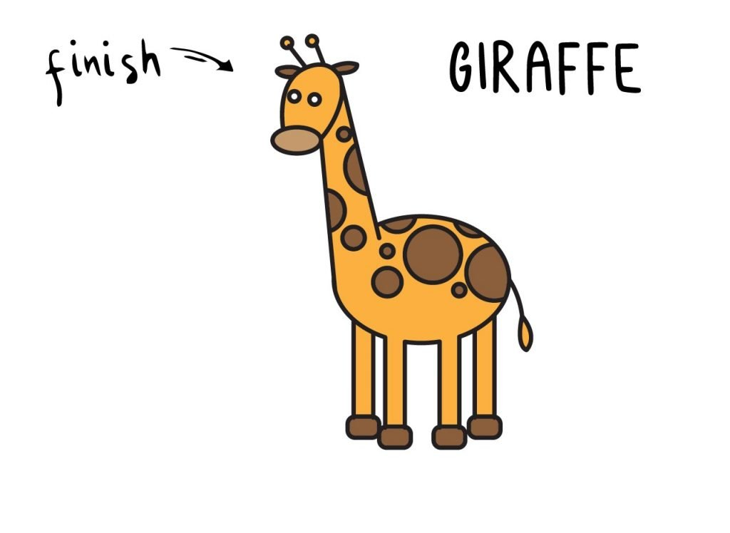 How To Draw African Animal Giraffe Step by Step for Kids Final