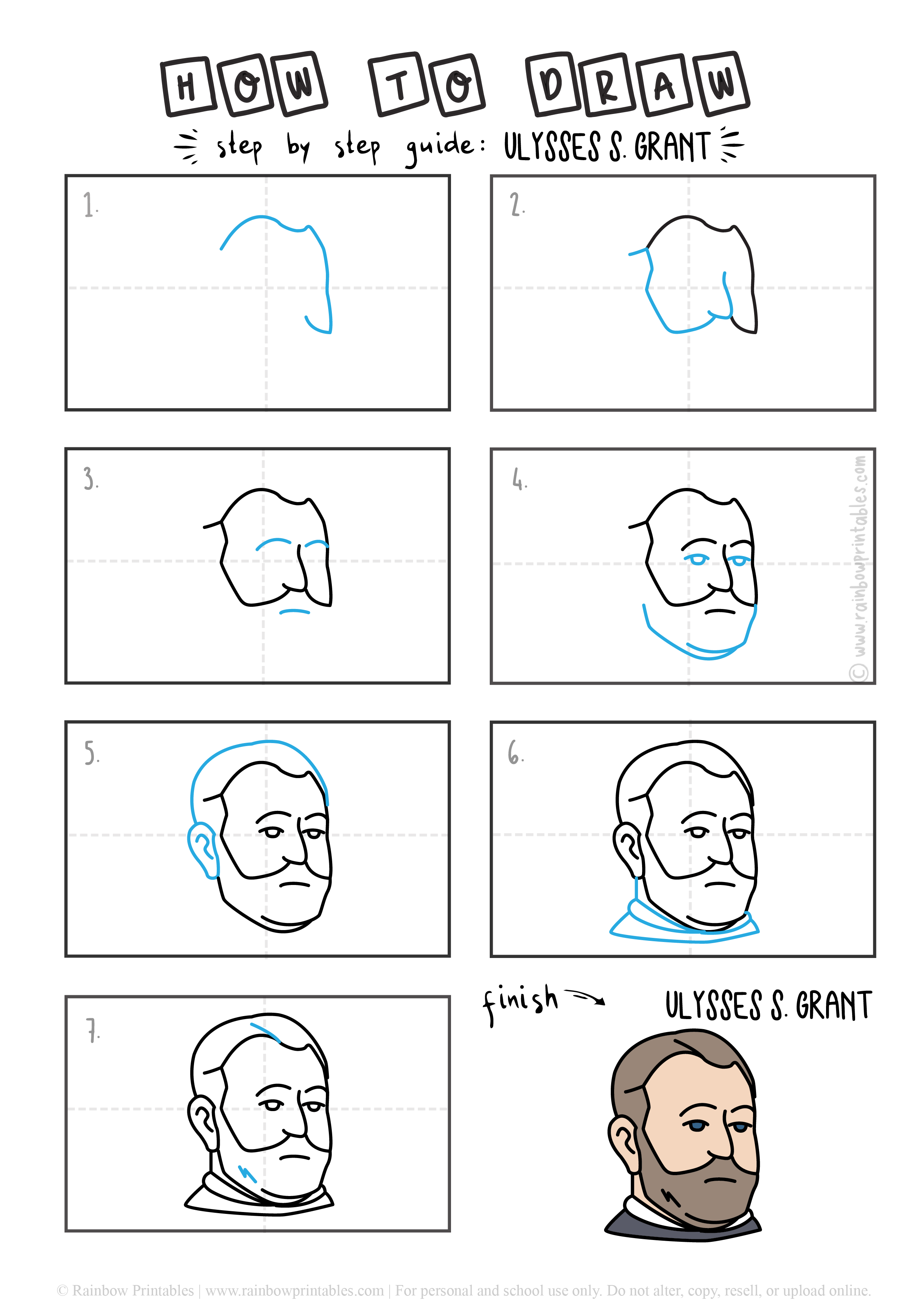 How To Draw American President Step By Step Art Guide Drawing Tutorial Educational ULYSSES GRANT
