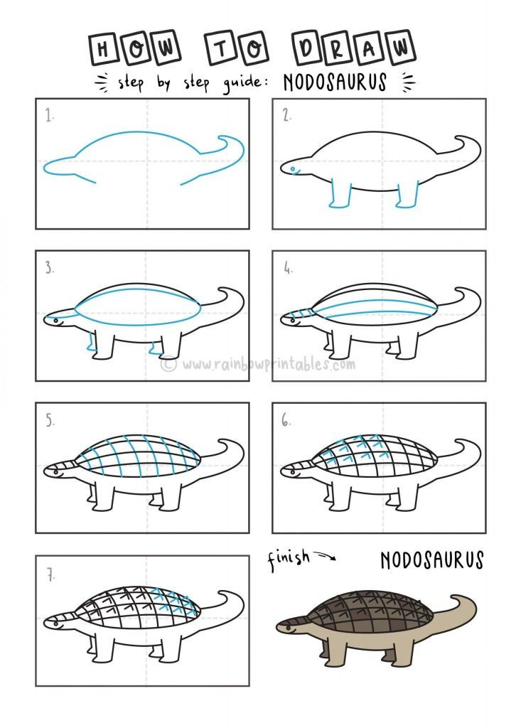 How To Draw Dinosaur Nodosaurus Step by Step Art Drawing Tutorial for Young Children