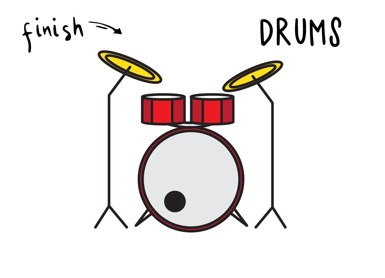 How To Draw a Simple Cartoon Drum Set For Kids – Very Easy Guide