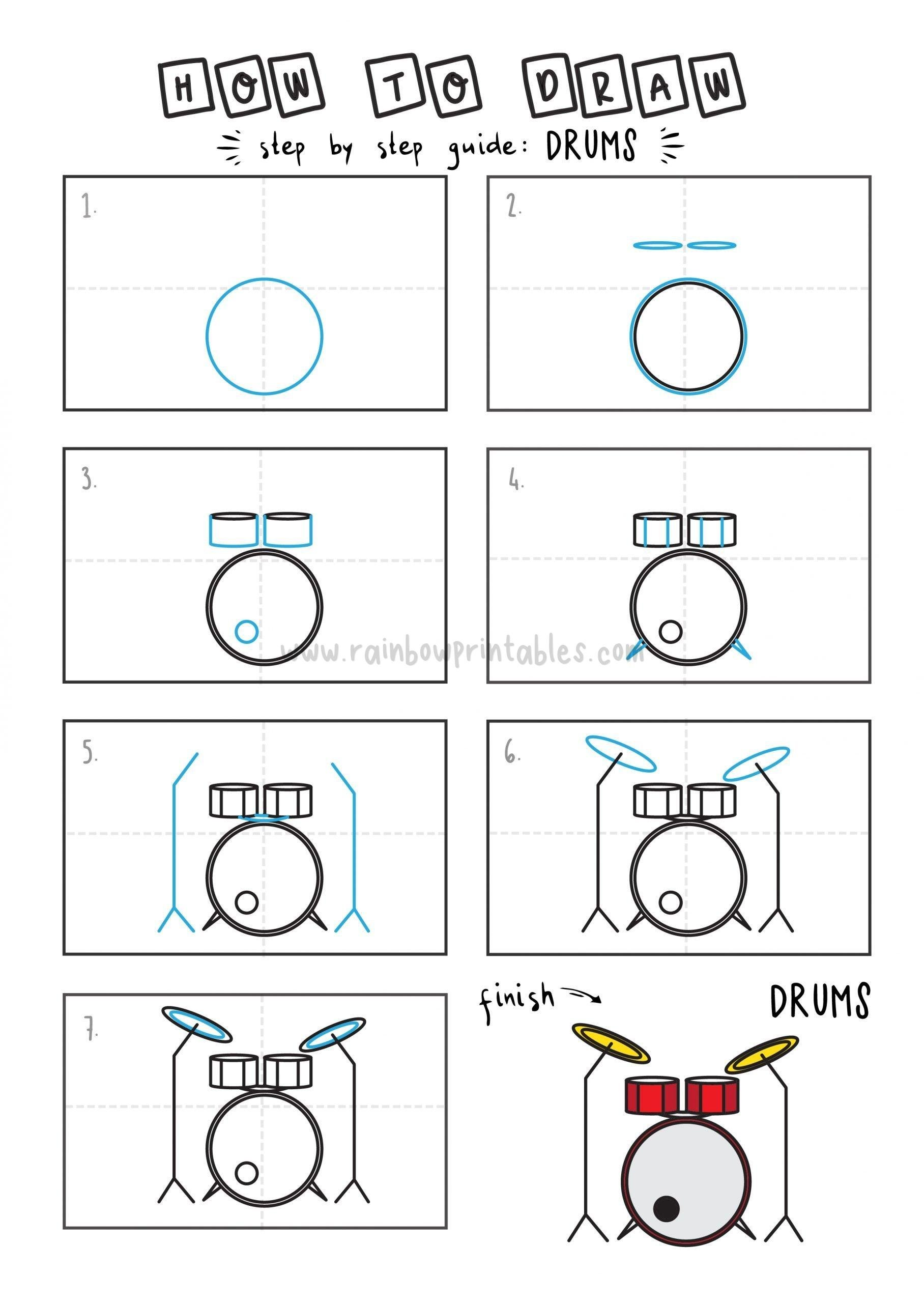How To Draw Drum Drumming Step by Step Art Drawing Tutorial for Young Children