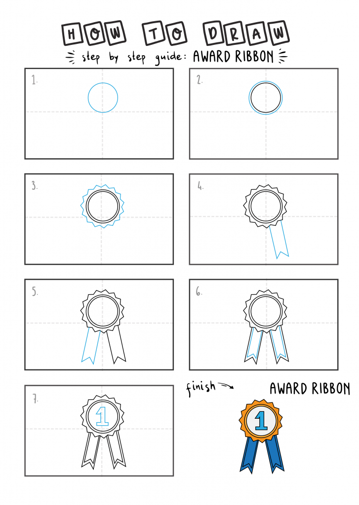 How To Draw EASY Award Ribbon Arts tutorial step by step for kids