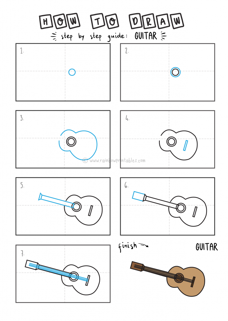 How To Draw EASY Guitar Arts tutorial step by step for kids