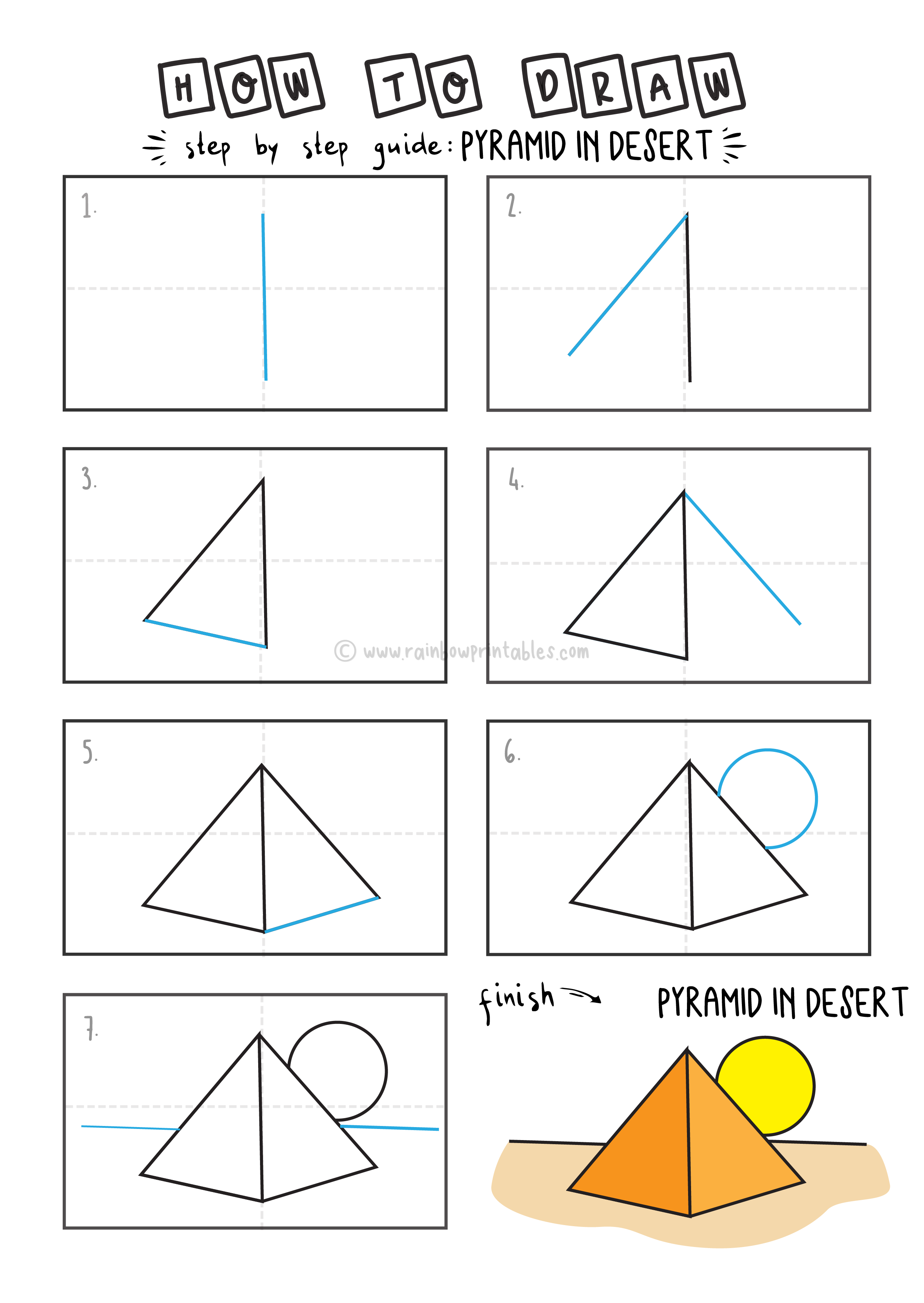 How To Draw EASY Pyramid in Desert Arts tutorial step by step for kids