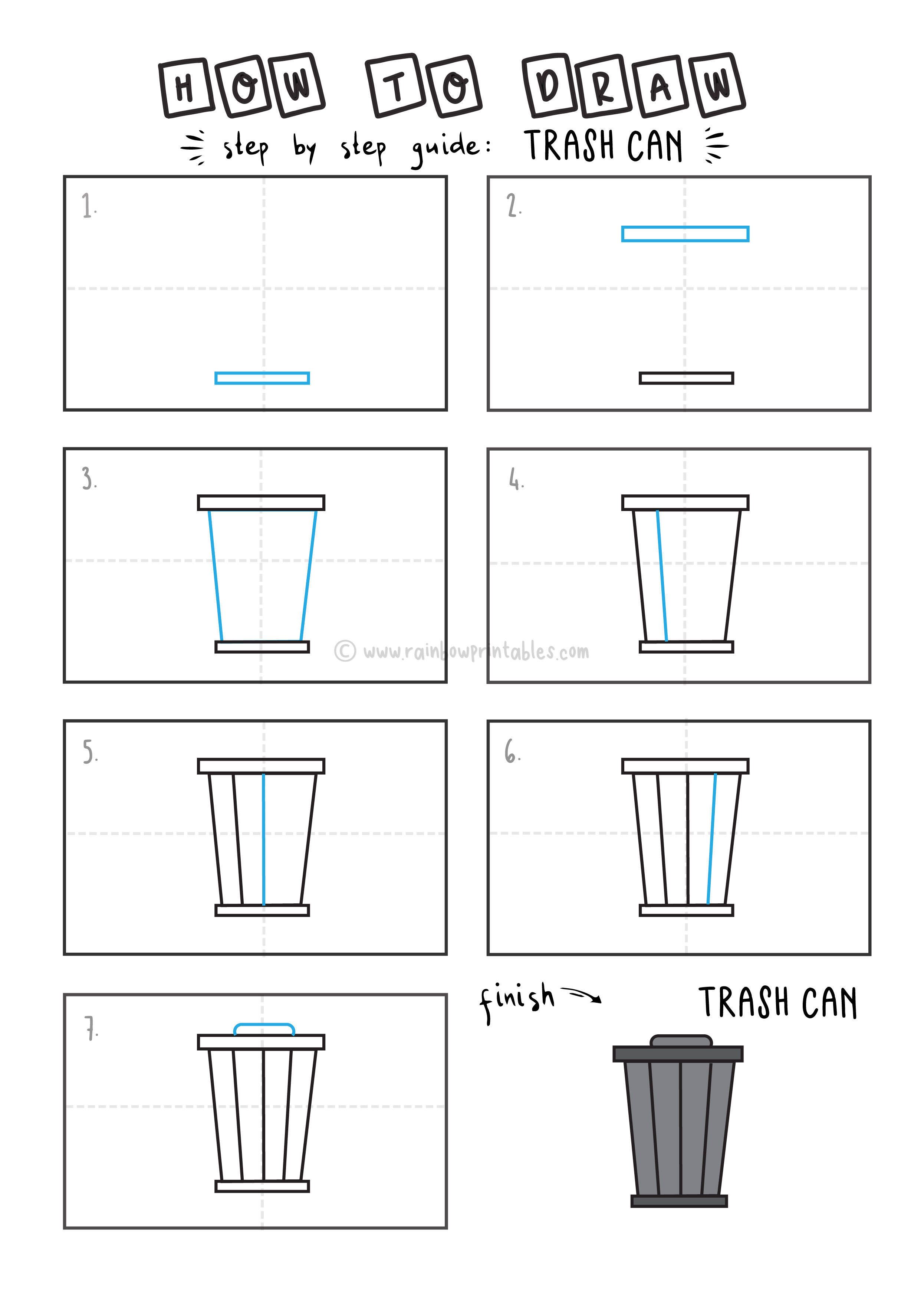How To Draw EASY Trash Cans Arts tutorial step by step for kids