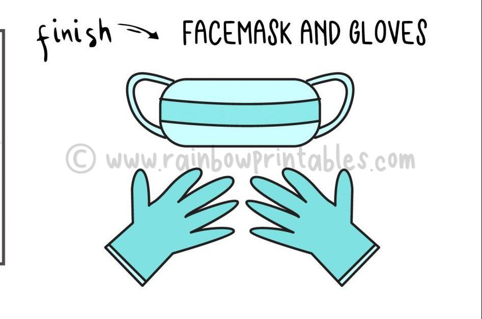 How To Draw Face Mask Glove Step by Step Art Drawing Tutorial for Young Children Covid Pandemic Health Medical Project