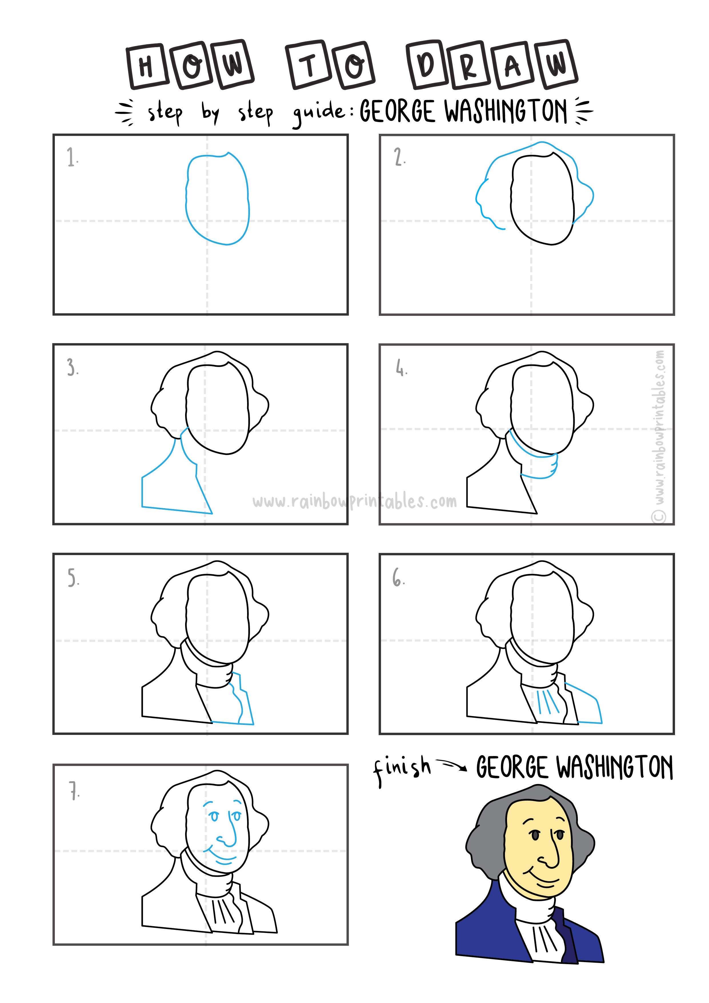 How To Draw George washington Cartoon For Kids Art History Step By Step EASY Protrait Learning Drawing