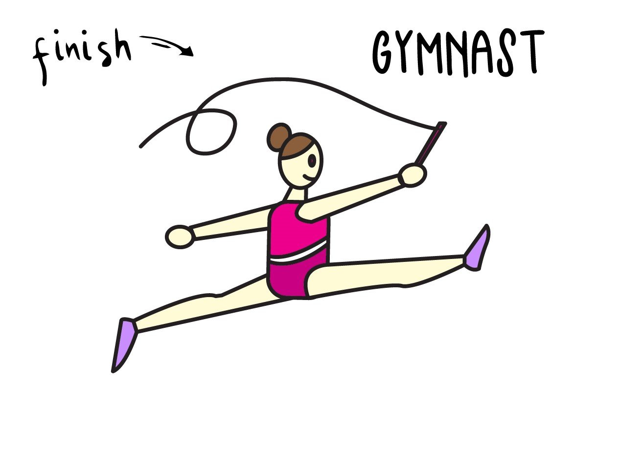 How To Draw a Cartoon Gymnast for Little Kids (Super Easy!)