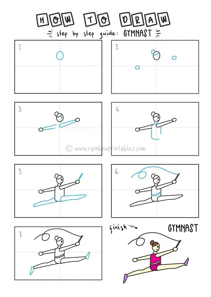 How To Draw Gymnast Sports Step by Step Art Drawing Tutorial for Young Children