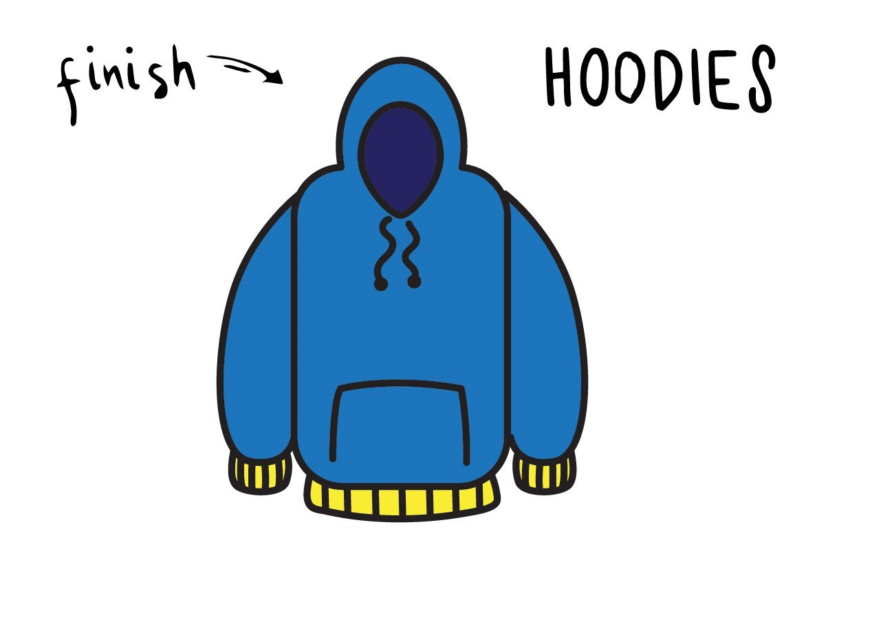 How To Draw a Blue Cartoon Hoodie (Clothing) – Step By Step for Kids