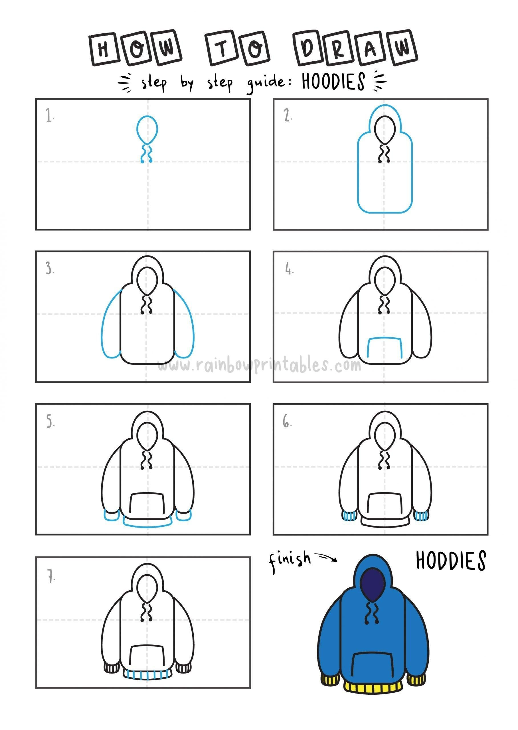 How To Draw Hoodie Clothing Step by Step Art Drawing Tutorial for Young Children