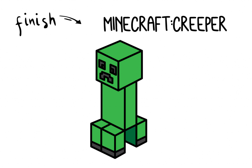How To Draw Minecraft Creeper Step by Step Art for Kids Tutorial Guide Final
