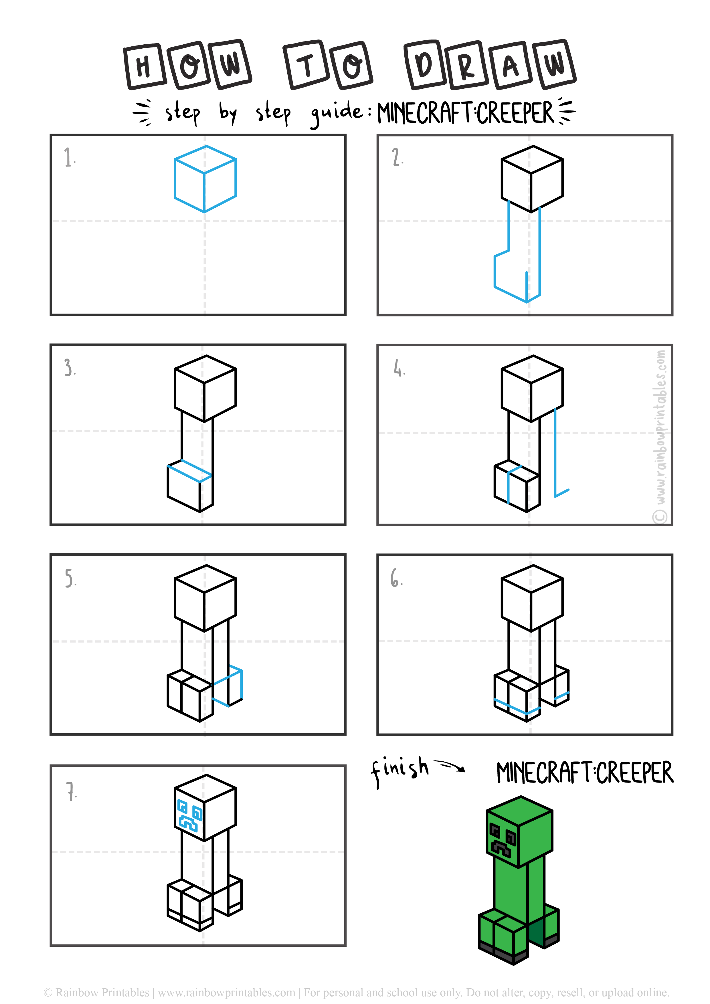 How To Draw Minecraft Creeper Step by Step Art for Kids Tutorial Guide