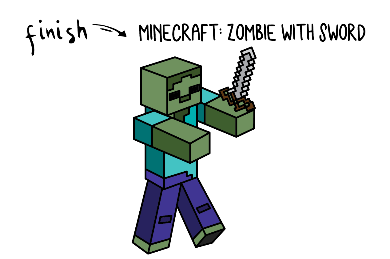 How To Draw a Minecraft ZOMBIE With Sword Step By Step for Kids
