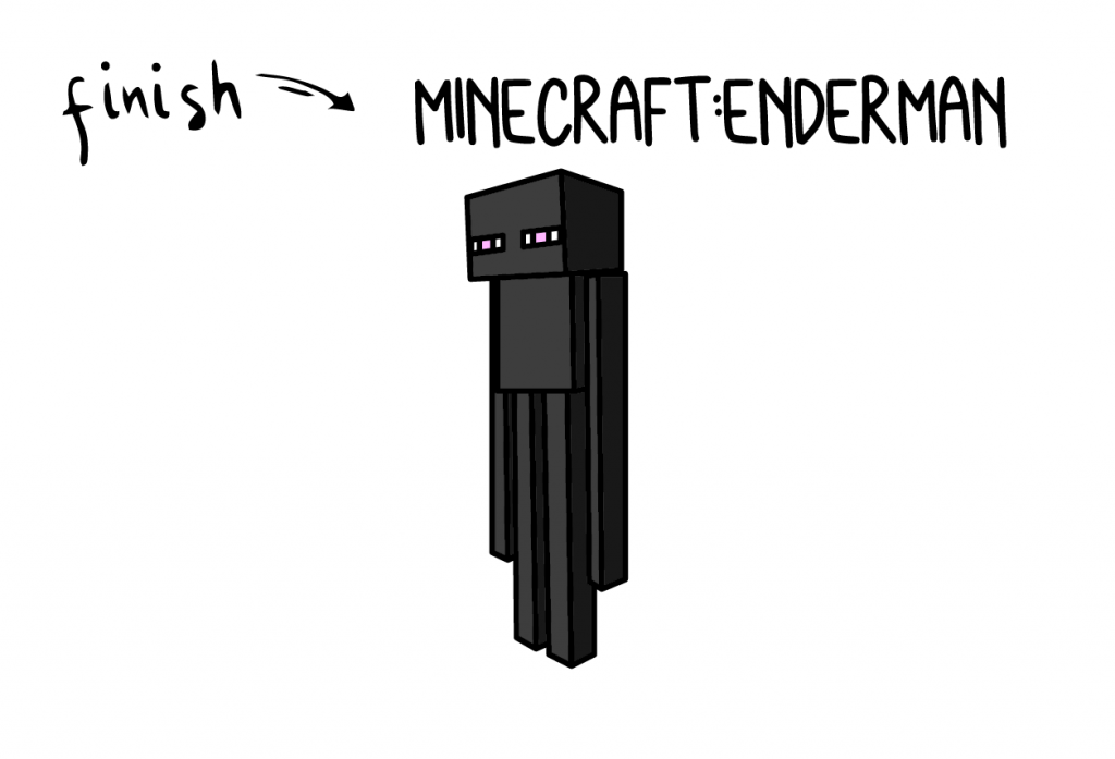 How To Draw Minecraft Enderman Monster Villian Step by Step Art for Kids Tutorial Guide Video Game Final