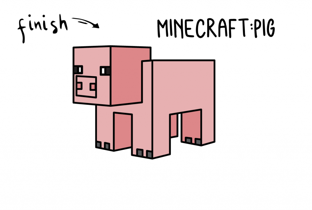 How To Draw Minecraft PIG ANIMAL Step by Step Art for Kids Tutorial Guide Video Game DRAWING Final